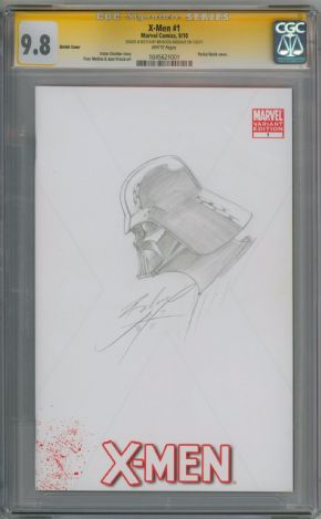 X-Men #1 CGC 9.8 Signature Series Signed Bandeaux Darth Vader Sketch Star Wars Marvel Comic